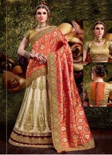 Vivacious Embroidered Work Off White and Orange Lehenga Saree
