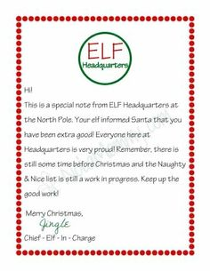 Elf on the Shelf Letter. A letter from your elf on the shelf letting your child know they are on the nice list. Elf Letters, Santa Letter, Christmas Activities, Christmas Traditions, Preschool Christmas, Indoor Activities, Elf On The Shelf, Shelf Elf, Elf On Shelf Letter