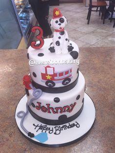 Fire truck fire fighter birthday cake... Adorable Dalmatian !! 2nd Birthday, Birthday Ideas, San Jose California, Baby Cakes, Fire Truck, Dalmatian, Eat Cake, First Birthdays, Bakery