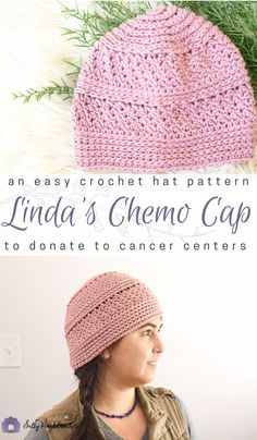 747e4f97a08 Closeup of a pink hat made from Linda s Easy Crochet Chemo Cap Pattern to  show the