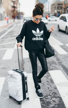 Sporty AirPort look Adidas sweatshirt leather black street style chic hello fashion