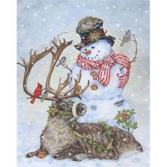 Wintertime Friends Christmas Garden Flag Snowman Reindeer BIrds x Christmas Scenes, Christmas Animals, Vintage Christmas Cards, Christmas Pictures, Christmas Snowman, Winter Christmas, Christmas Holidays, Christmas Crafts, Christmas Decorations