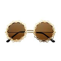 Designer Retro Style Floral Gold Metal Round Sunglasses R2092