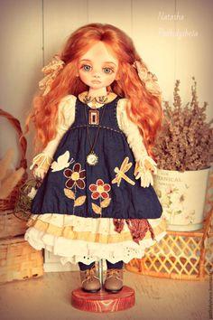 Купить Лёля - тёмно-синий, деревенский стиль, бохо-стиль, кукла в бохо
