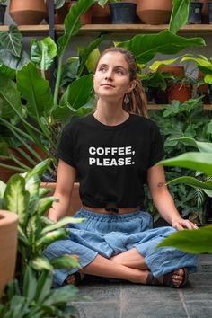COFFEE, PLEASE.You don't have to ask for it anymore, they just need to look at your shirt! This is why you NEED this t-shirt!Show your love for coffee! For any coffee lover, this t-shirt is going to be the perfect outfit for any occasion! Custom Tee Shirts, Cool T Shirts, Coffee Accessories, Designer Streetwear, Coffee Is Life, Shirt Style, Shirt Designs, Street Wear, Fashion Outfits