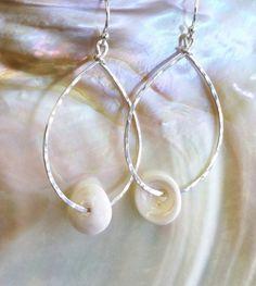 Sterling Silver Puka Shell Earrings at Zen Island