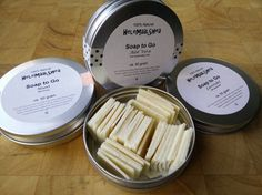 Soap to go - single us soap tablets. This beautiful tin with soap bits which are very convenient to take with you to the swimming pool, gym,