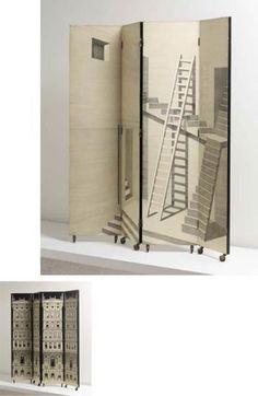 """, Piero Fornasetti, """"Scaletta"""" and """"Grattacieli del Rinascimento"""" patterned four-panel folding screen"""