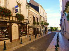 Pretty street in Amboise, Loire Valley, France