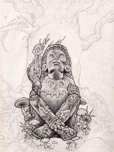 xochipili by Luke Brown Bee Art, Scary Tattoos, Mexican Culture Art, Tribal Art, Aztec Drawing, Brown Art, Art, Mayan Art, Chicano Drawings