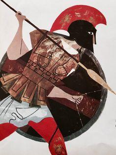Achilles Children's Book Illustration, Character Illustration, Alice Martin, Rome Antique, Greek Mythology Art, Greek Warrior, Ancient Greek Art, Character Design, Painting