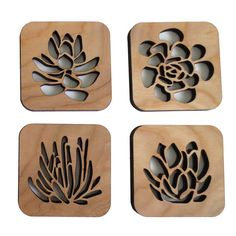 Laser Cut Wood Coaster Set Succulent Garden by CuriousDoodles