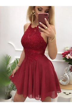 Burgundy Homecoming Dress Halter Neckline, Custom Made Hoco Dresses, Short Prom Dress, Graduation Dress, Short Graduation Dresses, Lace Homecoming Dresses, Hoco Dresses, Junior Bridesmaid Dresses, Junior Prom Dresses Short, Party Dresses, Wedding Dresses, Short Winter Formal Dresses, Cute Short Prom Dresses