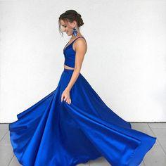 Royal Blue Two-Piece Long Prom Dresses,Satin Blue Formal Evening Dress – Okdresses Royal Blue Prom Dresses, Blue Evening Dresses, Dresses Short, A Line Prom Dresses, Sexy Dresses, Formal Dresses, Prom Gowns, Dress Prom, Evening Gowns