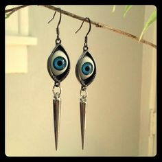 """NWT Blue Eyeball Spike Earrings In many cultures, especially in West Asia, the eye symbol is used in jewelry and art as protection from curse of """"the evil eye"""". Considered a type of talisman in religions across the globe, these are a great conversation starter!!! 3"""" long Jewelry Earrings"""