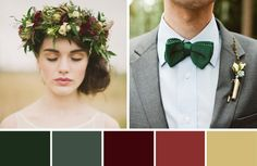 With lots of greenery and a few subtle hints of red and wine this Rustic Winter Wedding palette is perfect if you want to incorporate the festive season into your big day with out being too over the top.