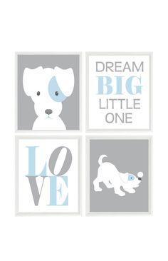 Puppy Nursery Art, Dog Wall Art, Dream Big Little One Quote, Love Print, Baby Boy Nursery, Baby Blue, Gray, Dog Nursery Theme, Boy Room by RizzleandRugee on Etsy https://www.etsy.com/listing/238989920/puppy-nursery-art-dog-wall-art-dream-big