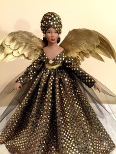 frican American Kwanzaa Christmas Angel Tree Topper OOAK Handcrafted Black Angel Personalized Hang Tag Free  Ask a Question $65.00 USD. USA (Tabytha) Christmas Time Is Here, Christmas And New Year, Christmas Holiday, Christmas Decor, Christmas Ideas, Black Christmas, Christmas Angels, Sparkle Gown, Angels Beauty