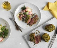 Herb and pistachio crusted lamb rumps with fennel salad