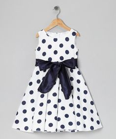 Look at this #zulilyfind! Navy & White Polka Dot Bow Dress - Infant, Toddler & Girls #zulilyfinds