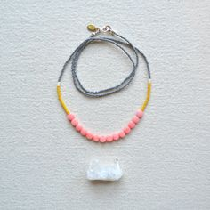 Enamoured Necklace- Pink Coral with Faceted Grey and Dirty Yellow Palette
