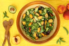 Summer Pea Peach Salad is bursting with bright summer flavours. Peaches make a delicious sweet treat, but they also taste delicious in savoury dishes. Fresh Vegetables, Fruits And Veggies, Salad Recipes, Vegetarian Recipes, Vegan Meal Plans, Fruit And Veg, Savoury Dishes, Food Allergies, Summer Salads