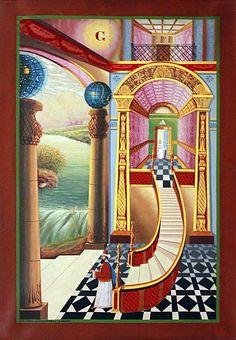 Lamb Degree Tracing Board - Model # 363722 - Originally sold by Henry Thomas Lamb in London during the mid century. Original artist is unknown. Masonic Art, Masonic Lodge, Masonic Symbols, Masonic Temple, Sun Worship, Templer, Eastern Star, Freemasonry, Horror