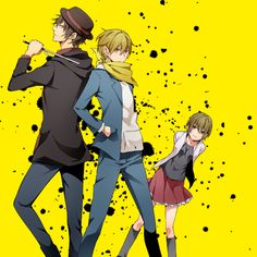 Tags: Anime, Durarara!!, Back To Back, Kida Masaomi, Mikajima Saki, Rokujo Chikage, Hand In Pocket
