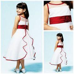 MF1012 Hot Sale Flowers Spaghetti Strap Sash Red And White Flower Girl Dress