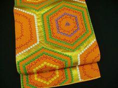 "Orange, Gold & Silver Silk ""Rokutsuu Fukuro-obi"" w/Flowers H501"
