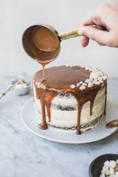 gingerbread layer cake with salted whiskey caramel sauce & salted caramel…