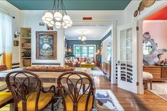 Eclectic Home Tour - Home Ec - Vintage filled home with colorful walls and ceilings - Eclectic Gallery Wall, Eclectic Decor, Eclectic Paintings, Painted Interior Doors, Magical Home, Modern Table, Victorian Homes, White Walls, Vintage Decor