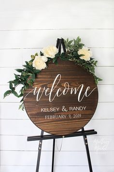 Round Wooden Wedding Welcome Sign Round Wedding Welcome Sign, Round Welcome Wedding Sign, Wood Wedding Signs, Rustic Wedding Signs Wooden Welcome Signs, Wedding Welcome Signs, Wooden Signs, Wedding Table, Wedding Day, Dream Wedding, Perfect Wedding, Wedding Hacks, Trendy Wedding