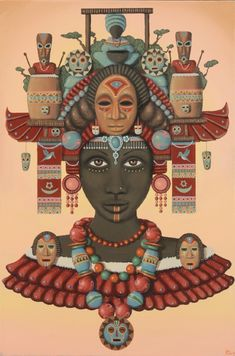 Temple of the Wooden Mask from Paul Lewin Art Psychedelic Art, Santa Cecilia, African Abstract Art, African Artwork, Black Love Art, Yoruba, Goddess Art, African Diaspora, Art Abstrait