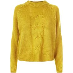 Noisy May Yellow Cable Knit Jumper (640 EGP) ❤ liked on Polyvore featuring tops, sweaters, cable jumper, cable knit sweater, jumpers sweaters, jumper tops and yellow sweater