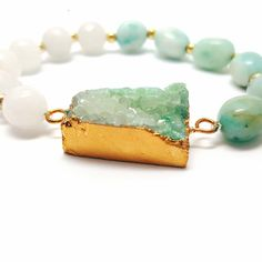 Druzy Quartz Turquoise Amazonite Gold Seed Bead and Snow Quartz Stretc – HaJuls
