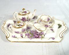 Hammersley Spode Miniature Tea Set Violets Teapot Cream Sugar Cup Saucer Tray | eBay