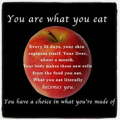 You are what you eat. Every 35 days, your skin replaces it's self. Your liver, about a month. Your body makes these new cells from the food you eat. What you eat literally becomes you. You have a choice in what you're made of. Healthy Habits, Healthy Tips, How To Stay Healthy, Healthy Foods, Vegan Life, Raw Vegan, Vegan Food, Herbalife, Health And Nutrition