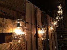 Mason Jar lights for patio Diy Mason Jar Lights, Mason Jar Lighting, Mason Jar Diy, Mason Jar Lamp, Patio Lighting, Stage Lighting, Pallet Backdrop, Worship Night, Pot Mason