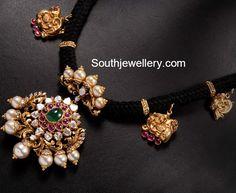 Black Dori Necklace with Polki Pendant