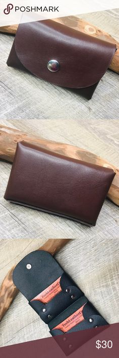 Buxton Business Card Wallet ~ Chocolate Brown Faux Leather NICE!