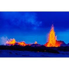 Lava fountains at the Holuhraun Fissure eruption near Bardarbunga Volcano Iceland Canvas Art - Panoramic Images (27 x 9)