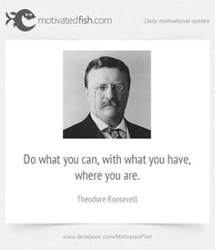 Do what you can, with what you have, where you are. (Theodore Roosevelt)