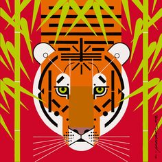 Charley Harper (red and green compliment the tiger nicely)
