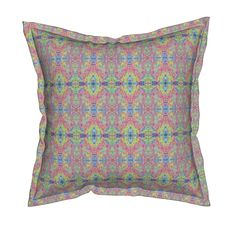 Serama Throw Pillow featuring Ribbons of Rainbow Ripples by rhondadesigns   Roostery Home Decor