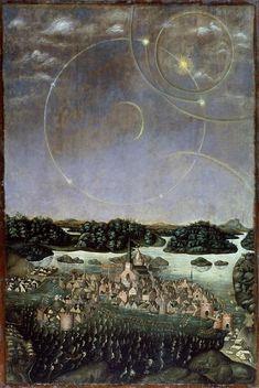 """'Vädersolstavlan' (Swedish for """"The Sun Dog Painting""""), oil-on-panel, attributed to Urban Målare (""""Urban the Painter""""), depicting a halo display observed over Stockholm on April Dog Paintings, Landscape Paintings, Original Paintings, Miniature Paintings, Illustrations, Illustration Art, Renaissance, Pier Paolo Pasolini, Sun Dogs"""