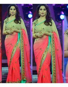 New Indian Ethnic Festival Wear Bollywood Designer Saree in Red and Cream Color Chiffon Saree, Georgette Sarees, Lehenga Choli, Sari, Bollywood Designer Sarees, Designer Sarees Online, Bollywood Saree, Designer Clothing, Madhuri Dixit Saree