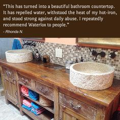 A Bathroom Countertop Protected With Waterlox Original Sealer/Finish.