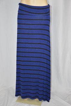 Wet Seal Womens XL Dark Royal Blue Black Striped Printed Long Maxi Skirt Stretch #WetSeal #Maxi