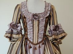Striped Lavender Marie Antoinette rococo Victorian inspired costume dress fits waist 26 to 28 inches comes with hips. $225.00, via Etsy.